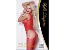 Lindo e sensual macacão sem costura, na cor vermelha, com detalhes em renda floral,cobertura até os pés e suspensório, que valorizam ainda mais o corpo da mulher.