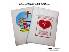Álbum plástico com miolo de papelão rígido com 10 lâminas internas (saco transparente).Impressão digital ou serigráfica.Tamanho: 24,5x33cm