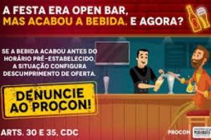 Bebida insuficiente em evento open bar configura descumprimento de oferta