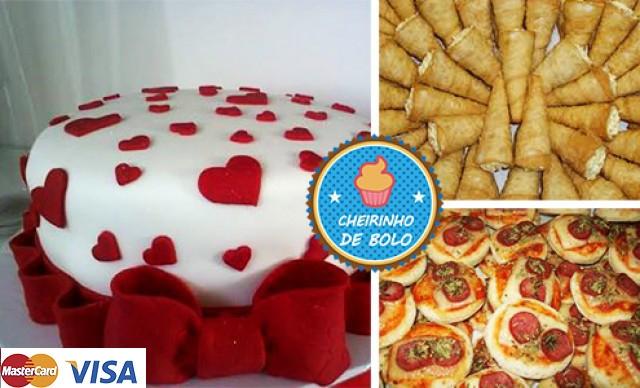 Bolo de 5 kg, + 50 Mini Pizzas + 50 Cartuchinhos, com a Cheirinho de Bolo! Por R$ 249,90.