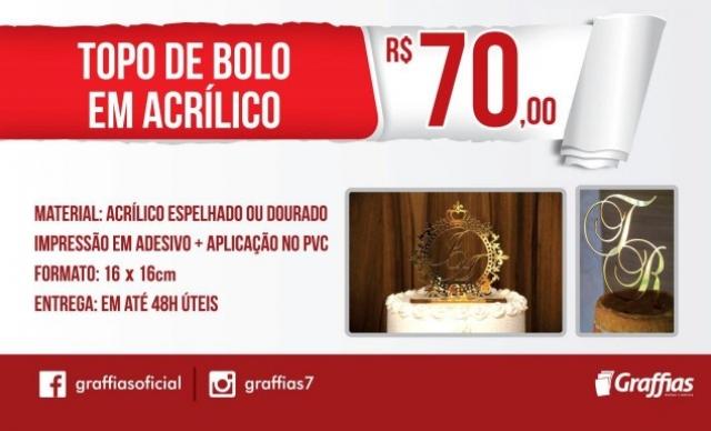 Topo de Bolo em Acrílico Espelhado ou Dourado – Cortado a laser – 16x16cm - de R$ 120,00 por R$ 70,00.
