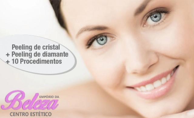 Peeling de Cristal + Peeling de Diamante + 10 Procedimentos. Por R$ 50,00.