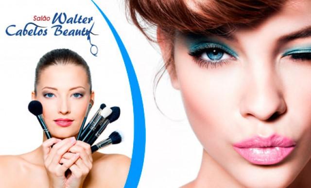 Maquiagem Com Cílios + Penteado de Festa + Manicure + Pedicure. De R$ 200,00 por R$ 100,00