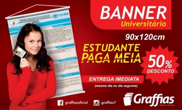 ESTUDANTE PAGA MEIA! Banner para Trabalhos Universitários 90x120cm de R$ 80,00 por R$ 40,00