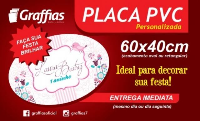 Placa de PVC Adesivada, 60x40cm - totalmente personalizada. De R$ 60,00 por R$ 35,40