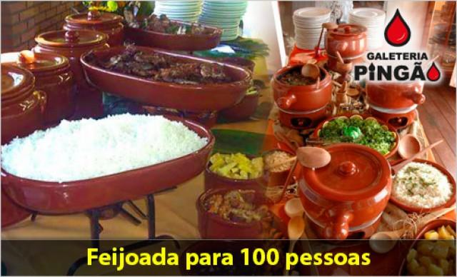 Feijoada completa para 100 pessoas  (Feijoada + Arroz branco + Couve à mineira + Laranja em rodelas + Farofa com bacon). De R$ 2.200,00 por R$ 1.320,00.