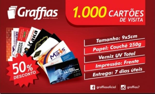 1.000 Cartões de Visita Colorido (5x9cm) Apenas Frente em Papel Couché Brilho 250gm². De R$ 120,00 por R$ 70,80