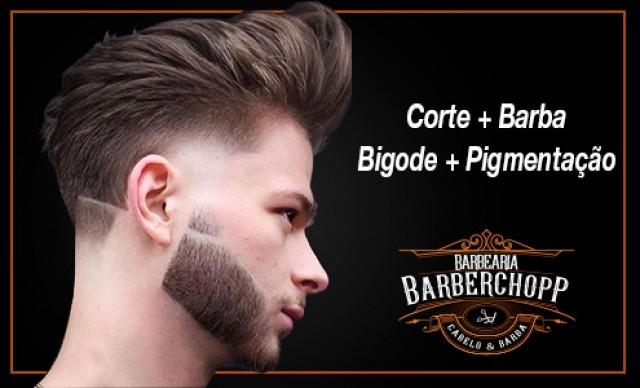Corte + Barba + Bigode + Pigmentação De R$ 70,00 por R$ 40,60