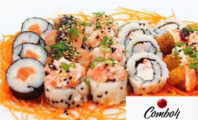 Sushi 20 Peças de 05 Uramaki Ebi - 05 Mississipi - 04 Sakemaki - 03 Manhattan - 03 Nakamaki. De R$ 54,00 por R$ 30,24