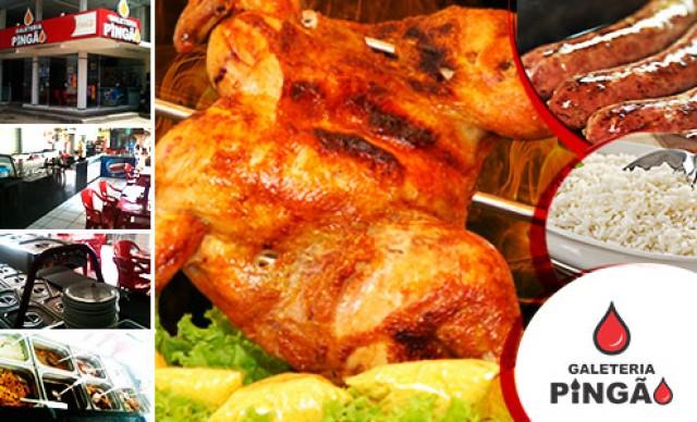 COMBO PINGÃO (serve 5 pessoas) 1 Galeto Pingão Gratinado com Queijo e Orégano + 6 Linguiças Toscana Suína + 1 kg de Arroz Branco (2 porções) + 500 g de Farofa com Bacon De R$ 78,00 Por R$ 55,38