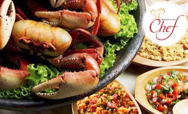 Caranguejo no Leite de Coco, Arroz com Bacon, Farofa e Vinagrete na Barraca do Chef! De R$ 39,50 por R$ 27,65.